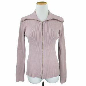 LOFT Lavender Ribbed Knit Zip Up Sweater